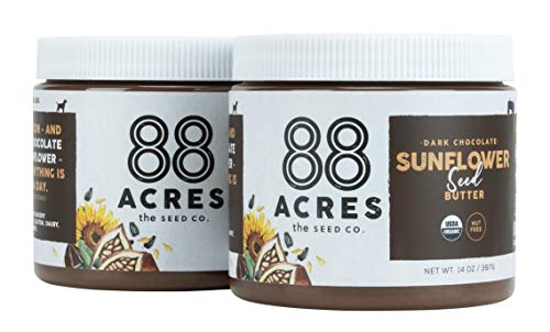 88 Acres Organic Sunflower Seed Butter | Dark Chocolate | Keto-Friendly, Vegan, Gluten Free, Dairy Free, Nut-Free Non GMO Seed Butter Spread | 2 Pack, 14 oz