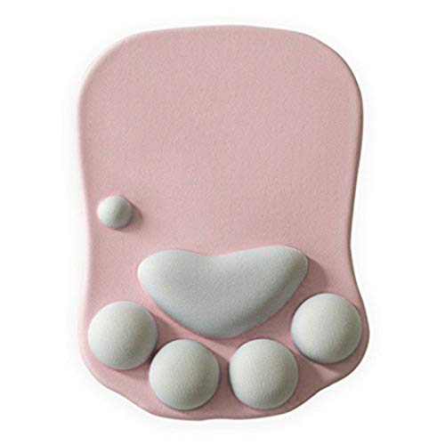 Cat Paw Mouse Pad with Wrist Support Soft Gel Wrist Rest Pad Cute Design - Cushion Comfort Mousepad Computer Mac Laptop Mouse Mat Desk Decor (Pink)