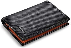 TEEHON® Portafoglio Uomo RFID Blocking Pelle Carbonio con 11 Porta Carte di Credito, 2 Finestra ID, Portamonete...