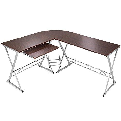 TecTake Bureau Table à ordinateur en coin meuble d'angle PC poste de travail 170 x 135 x 75 cm - diverses couleurs au choix - (Marron-Noyer | no. 402404)