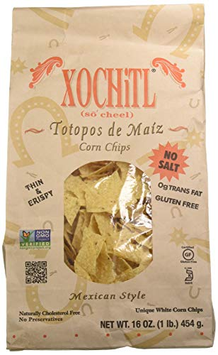 Xochitl Corn Chips No Salt, 16-Ounce Bags (Pack of 9)