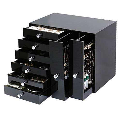 Jewelry boxes Halskette Schmuckkasten Ohrring Schmuck Aufbewahrungsbox Mehrschichtige Schmuck Rack Schmuckauslage Blackbox (Color : Black, Size : 26 * 16 * 23cm)