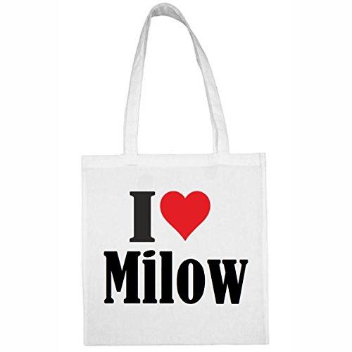 Tasche I Love Milow Größe 38x42 Farbe Weiss Druck Schwarz