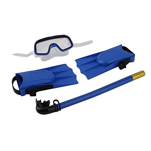 Snorkeling Máscara de buceo Tubo de respiración Aletas largas Aletas 3 piezas Snorkels Set Azul