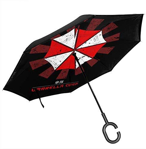 Umbrella Corp Paraguas invertido Retro japonés Resident Evil de Doble Capa para automóviles Manos Plegables invertidas en Forma de C invertidas - Ligero y a Prueba de Viento y Ndash;