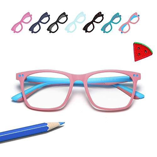 Penbea Kids Blue Light Blocking Glasses - Blue Light Glasses for Kids Girls Boys Age 7-12, Fake Glasses Anti Bluelight Glasses for Kids - Pink-Light Blue