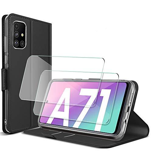 GESMA für Samsung Galaxy A71 Hülle + Panzerglas (2 Stück), Samsung Galaxy A71 4G Flip Wallet Schutzhülle Standfunktion Handyhülle mit Samsung Galaxy A71 4G Panzerglas Schutzfolie (Nicht 5G).