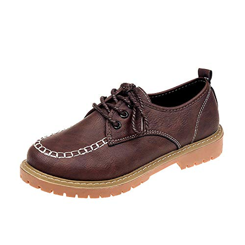FORUU Women's Ladies Shoes Fashion Ankle Flat Leather Casual Lace Up Shoes Short Boots Brown