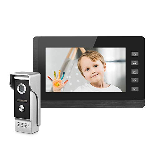 Video Intercom System for Home, 7 Inches Monitor Wired Video Doorbell Kits, IR Night Vision Camera Support Unlock, Monitoring, Dual-Way Intercom for Villa House Office Apartment