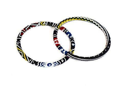 Juego de 2 pulseras de tela 100% Wax fabricadas en Francia de tipo africano. Color negro amarillo y blanco. 2. Joya colorida elegante hecha a mano, idea de regalo, accesorio original para mujer.