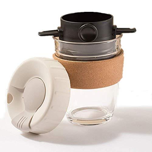 Baoniansoo Handgebrühter Kaffee Tragbare Tasse mit Edelstahlfilter, Kaffeetasse im Freien, tragbares Glas, filterfreies Papier, für Zuhause, im Freien, Büro