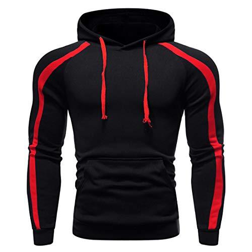 Men's Jacket Long-Sleeve Hoodie Windproof Warm Active Coat Slim Fit with Drawstring Pockets Patchwork Pullover Sweatshirt Trekking Sport Party Hiking Tops XXL