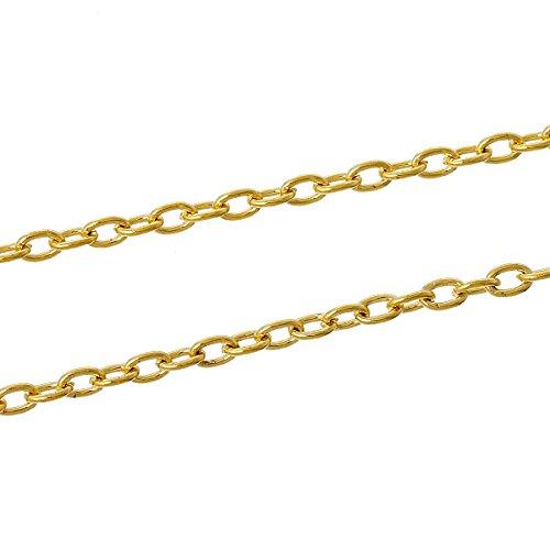 SiAura Material 10m Kreuzkette/Schmuckkette, oval, vergoldet, 5x3mm