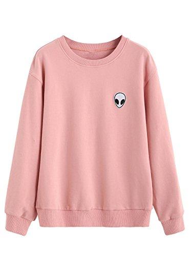 SweatyRocks Sweatshirt Women Pink Alien Patch Drop Shoulder Long Sleeve Shirt (X-Large, pink)
