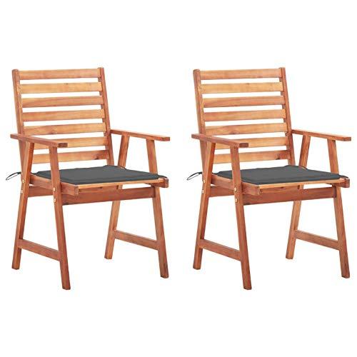 Tidyard Garten Essstühle 2 STK. mit Kissen Gartensessel Sessel Stuhl Gartenstuhl Stühle Stuhlset Gartenmöbel Balkonstuhl Terrassenstuhl Massivholz Akazie