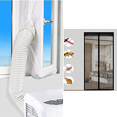 Junta de ventana para aire acondicionado móvil 400 cm + mosquitera magnética de puerta 50 x 210 cm, refrescante de aire, kit de calafatización de aire acondicionado, secadora, manguera evacuación aire