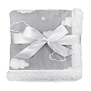 American Baby Company Heavenly Soft Chenille/Sherpa Security Blanket, 3D Cloud Gray, 14″ X 14″, for Boys & Girls