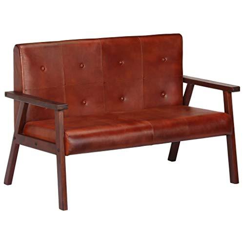 Tidyard Sofa 2-Sitzer Echtleder Polstersofa Loungesofa Sitzmöbel Couchgarnitur, Sofagarnitur, Polstersofa - Wohnzimmer,Gesamtmaße: 111 x 61 x 73 cm (B x T x H), Braun/Grau