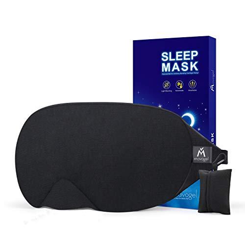 Mavogel Masque de nuit - Masque sommeil pour hommes et femmes, Masque de sommeil anti-lumière au design moderne, Masque yeux doux et confortable pour dormir, avec pochette de voyage, noir