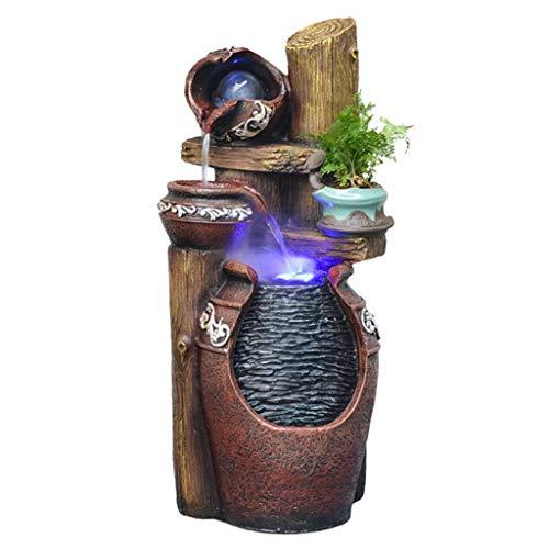 QULONG Fuente de Piso en Cascada de 3 Niveles para Interiores y Exteriores con luz LED - Cuenco de Piedra de 24.4'Característica de Agua al Aire Libre para Jardines y Patios Fuentes de Mesa