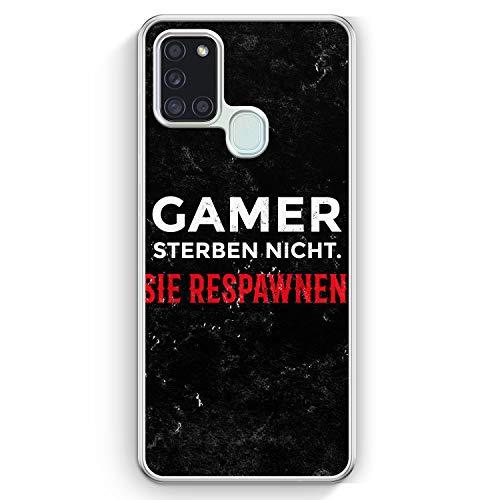 Gamer Sterben Nicht - Sie Respawnen - Hülle für Samsung Galaxy A21s - Motiv Design Spruch Jungs Männer Cool Lustig Witzig - Cover Hardcase Handyhülle Schutzhülle Hülle Schale