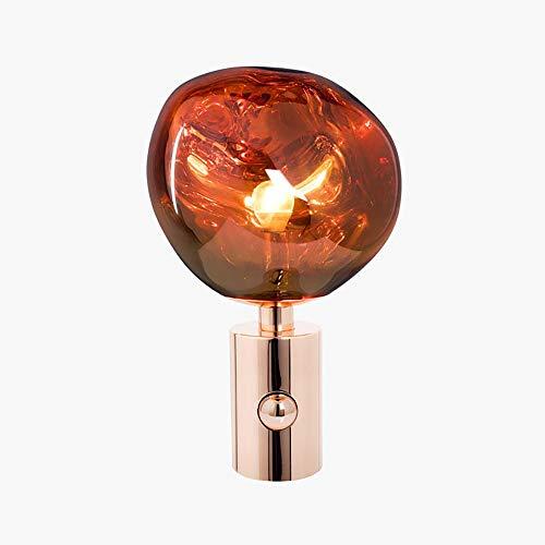 DKEE Lámparas de Mesa Posmoderna Minimalista Diseño De La Personalidad De Noche Vidrio De Lava Creativa Salón Lámpara De Escritorio De Escritorio del Dormitorio 28 * 43cm (Rojo Cobre/Cromo/Oro)