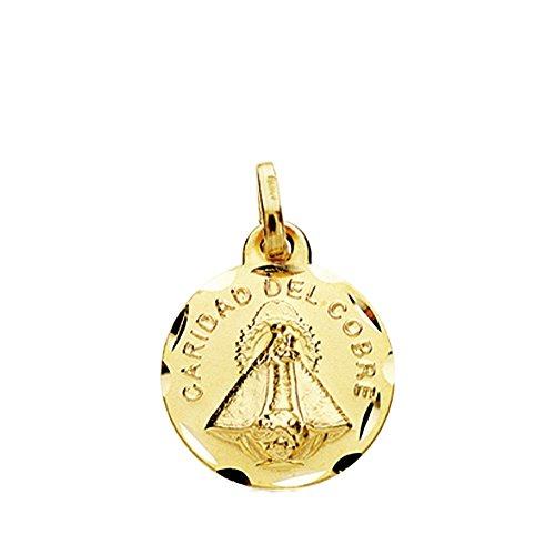 Medalla Oro 18K Virgen Caridad Del Cobre 14mm. Cerco Tallado [Ab3806]
