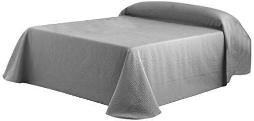 Eysa Bettüberwurf, Polyester, 200 cm, 75, 25 Prozent Baumwolle, Kies Tagesdecke, Silber, 06