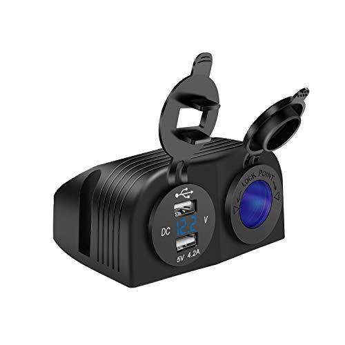Cargador de coche de 5 V y 4,2 A, doble USB, panel de cortina con dos agujeros, toma de mechero impermeable para coche, moto, marina, ATV, RV