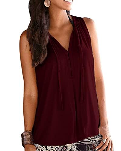 LilyCoco Mujer Camisa Camisetas Tirantes Elegante Suelta Sleeveless Top Shirt Señora Camiseta Blusa Sin Mangas de Moda Camisa Mujer con Cuello en V Shirts Sin Mangas Camisa de Verano