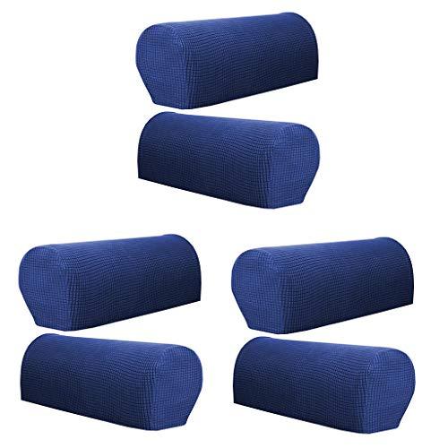 LOVIVER Set of 6 Stretch Armrest Cover Stain Resistant Furniture Protector Dark Blue