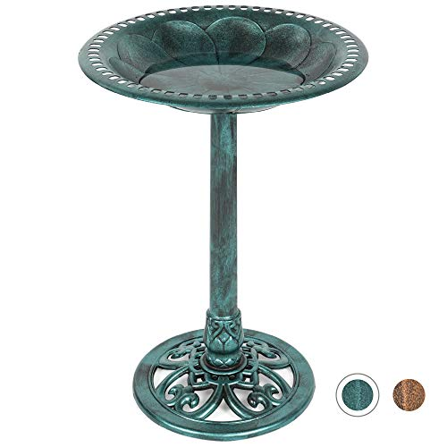 Vintage Outdoor Resin Pedestal Bird Bath