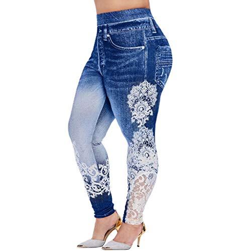 Yowablo Damen Sport Leggings Nahtlose Kompressions Sporthose Yoga Fitnesshose mit Hohe Taille für Workout Gym Jogging (4XL,1Blau)