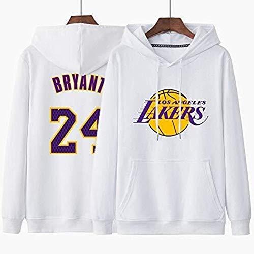 Anking NBA Kobe Bryant # 24 Los Ángeles Lakers Hoodie Hombre 3D Sudaderas con Capucha Unisex Pullover Manga Larga Sweater Hoody con Bolsillos Cordón S-XXXL, No Se Desvanecerá Ni Encogerá,Blanco,XXL