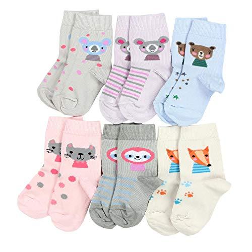 TupTam Kinder Unisex Socken Bunt Gemustert 6er Pack, Farbe: Mädchen 7, Socken Größe: 19-22