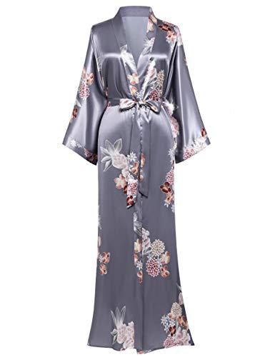 Coucoland - Kimono de satén para mujer, estilo kimono chino largo, estilo japonés, para fiestas de boda, pijama de 135 cm Gris Gris Plata talla única