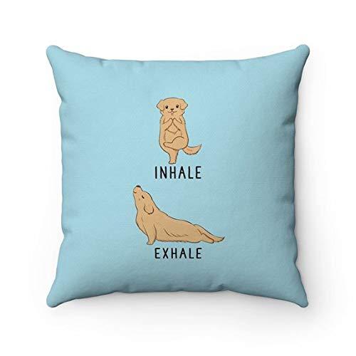 Domwtyrper Inhale Exhale Golden Retriever almohada, funda de almohada de yoga para perro, fundas de almohada, cojín para amantes de los perros, regalo divertido para inauguración de la casa, decoración del hogar