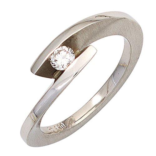 JOBO Damen Ring 950 Platin teilmattiert 1 Diamant Brillant 0,15ct. Platinring Größe 52