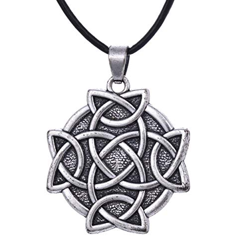 EUEAVAN Crossed Celtic Knot Amulet Talisman for Eternal and Infinitive Love Pendant Necklace (Rope Chain)