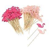 VOSAREA 100 Pezzi Flamingo Cupcake Toppers Torta Festa di Compleanno Raccoglie Cibo Decorazione Forniture per Cocktail Festa di Compleanno