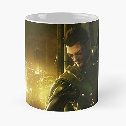 GrimDC Divided Deus Steam Eidos Ex Video Games Mankind Revolution Square Human Denton Enix Jc Gamer Taza de café con Leche 11 oz