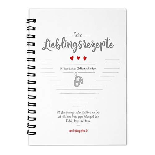 Rezeptbuch zum Selberschreiben & Ausfüllen - Ringbuch DIN A4 - Hardcover mit Register und Spiralbindung - Backbuch Kochbuch weiß