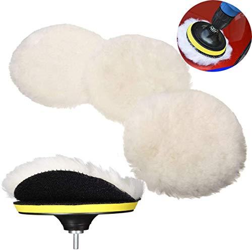 Toptoy Polishing Waxing Buffing Pads Kits,5Pcs 5inch Car Polishing Bonnets Lambs Wool Buffer Pads Kits with M14 Drill Adapter