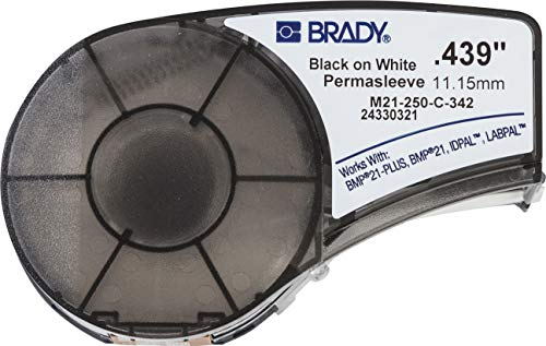 Brady PermaSleeve Heat-Shrink Polyolefin Wire Marking Sleeves (M21-250-C-342) - Black On White Sleeves - Compatible with BMP21-PLUS Label Printer, ID PAL, and LABPAL Printers - 7' Length, 0.439' Width