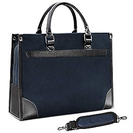 NEWHEY Sacoche Ordinateur Portable 15.6 Pouces Sacs Business Mallette en Imperméable Briefcase Cuir Sac Messager Sac a…