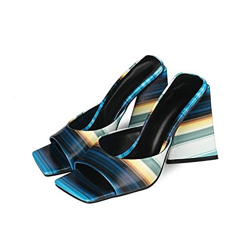 YIZHIYA Sandalias de Mujer,10cm Zapatillas de tacón Alto,Pantuflas a Rayas de tacón Alto con Punta Cuadrada y Punta Abierta,Vestido de Noche de Fiesta de Bodas Tallas Grandes Bombas,Azul,34 EU