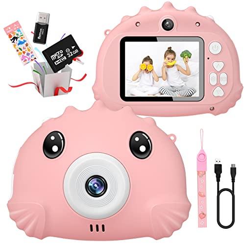 Gofunly Cámara de Fotos Digitales para Niños, 2.4' HD 1080P 20MP Camara de Fotos para Infantil, Tarjeta de Memoria de 32GB Selfie Video Cámara Infantil, Regalos Ideales para Niños de 3-12 Años (Rosa)