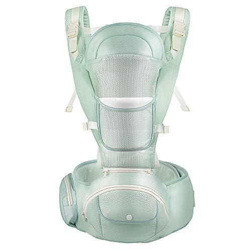 JYMSB Mochila Portabebé Ergonómico Multifuncional 9 en 1, Cinturón Ajustable, Multiposición Dorsal y Ventral para 4-36 Meses Bebes, Portador de bebé Puro Ligero y Transpirable Green