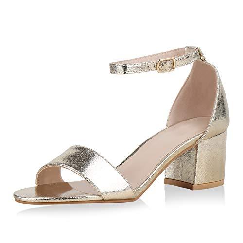 SCARPE VITA Klassische Damen Sandaletten Basic Wildleder-Optik Sommer Schuhe Blockabsatz Riemchensandaletten Absatzschuhe 177245 Gold 39