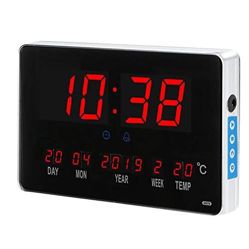 Elektronische wekker Dagkalender, Digitale wand-/bureauwekker met groot LED-display, 110-220V(EU)